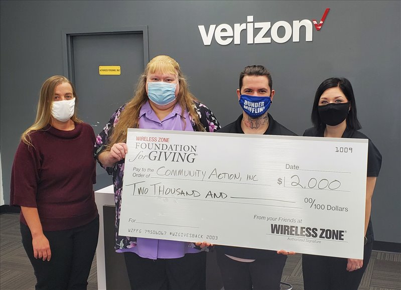 The Adult Education Project at Community Action, Inc. received a grant from The Wireless Zone Foundation for Giving are: (l-r) Community Action, Inc.