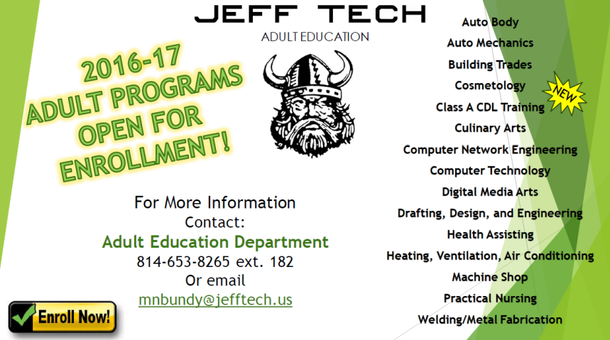 Jeff Tech Adult Education Enrollment Flyer